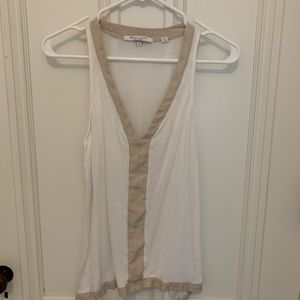 White and beige sheer v-neck  tank small